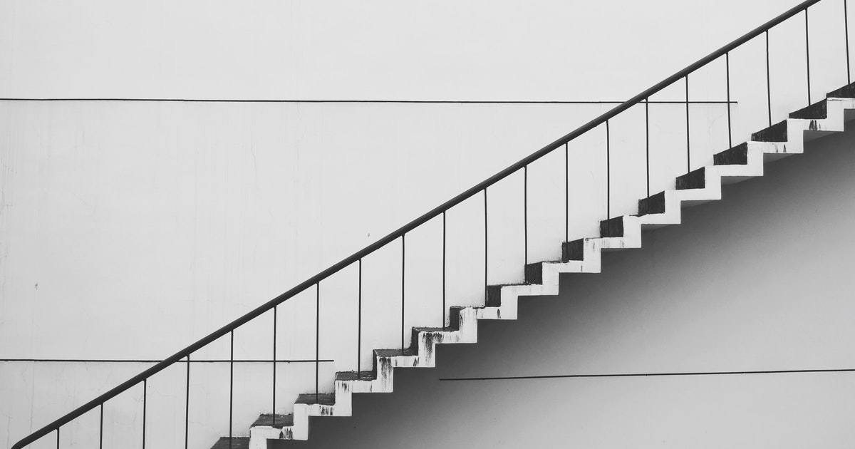 View from stairs in black and white