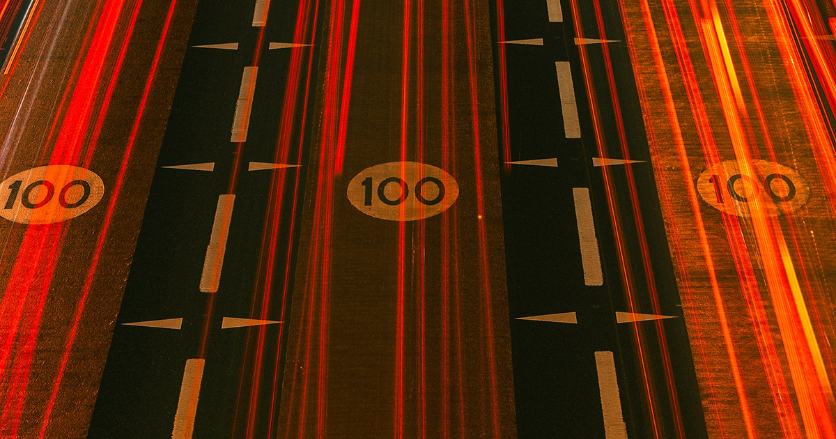 Road with speed limits printed