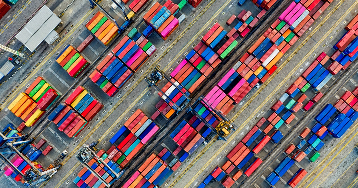 View from above of containers in a port