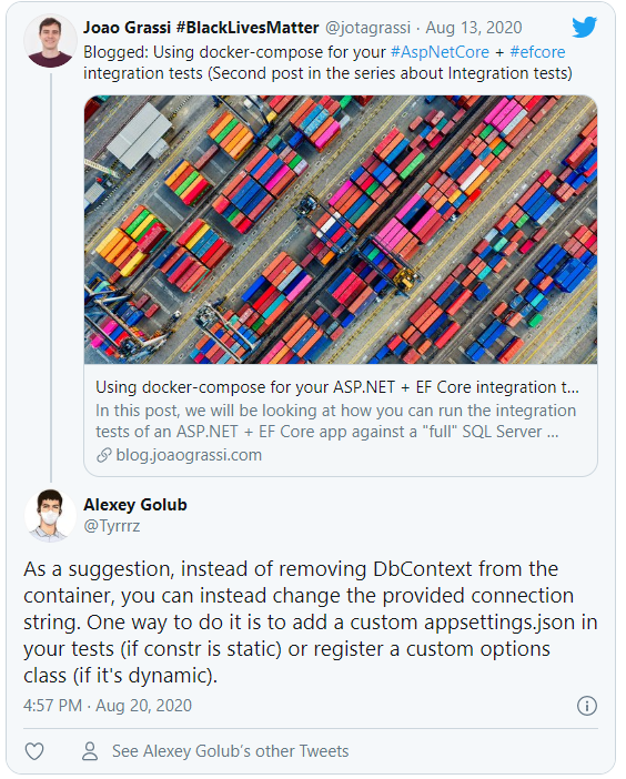 Alexey's suggestion on not removing the original DbContext registration